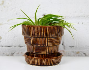 McCoy Planter Brown Flower Pot attached Saucer