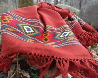 Beautiful handloomed wool burnt orange scarf/ stole/ shawl/ oversized scarf/Hygge scarf
