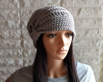 Women's cloche hat, gray button tab slouch beanie, gray cloche beanie, women's accessories, gifts for her, fall, winter, and spring fashion