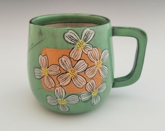 Handmade Mug, Porcelain Mug, Ceramic Mug, Coffee Cup, Floral Pattern Pottery Mug, Green Mug with Dogwood Flowers, 12 ounce mug