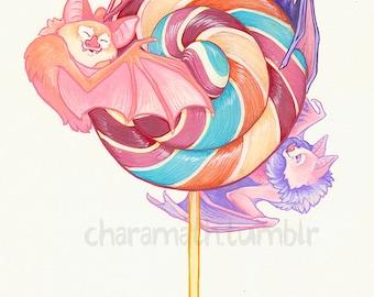 Lollipop Bats- cute original illustration-11x14 inch print