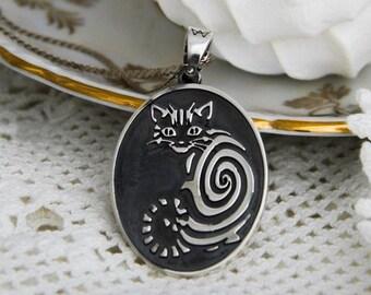 Handmade cat  medallion