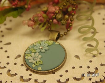 Floral Pendant in Muted Teal