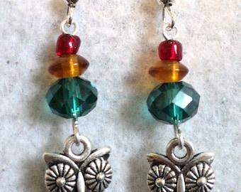 Owl Earrings, Fall Owl Earrings, Dangle Earrings, Charm Earrings, Fall Jewelry, Autumn Jewelry, Autumn Earrings, Barn Owl - Fall Owl