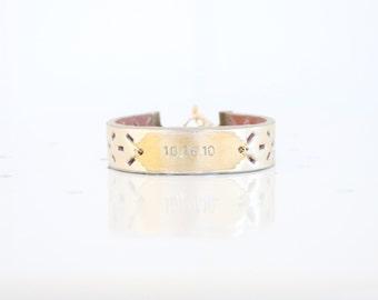 Personalized Bracelet, Monogram Leather Bracelet, Custom Initial Bracelet, Gold Metallic, Personalized Jewelry, Custom Name Bracelet