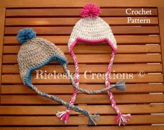 Crochet Pdf Pattern- Earflap hat- Crochet pom pom hat - 9 sizes