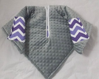 Car Seat Poncho 4 Kozy Kids(TM) pockets, double sided, reversible, opt to add detachable hood & batting, safe, warm-purple chevron with gray
