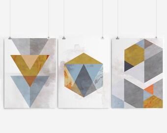 Geometric Print Geometric Art Geometric Abstract Art Geometric Wall Art Prints Set Of 3 Prints Wall Art Print Set Art Set Of 3 Prints