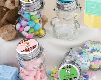 24 Personalized Baby Shower Teddy Bear Jars - Set of 24