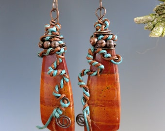 Red Creek Jasper Earrings, Copper & Natural Stone, One of a Kind Handcrafted Earrings, READY TO SHIP