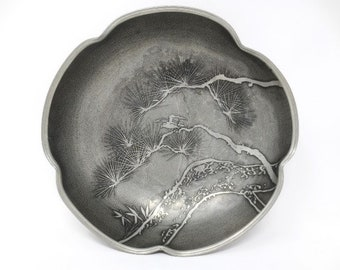 "Pewter Bowl - 7"" - China - Pine Boughs and Bird - 5-sided - Chinese - Vintage"