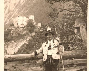 RPPC  ~ Real Picture Post Card Circa 1910's ~ Man wearing Alpine Vintage Clothing Photograph