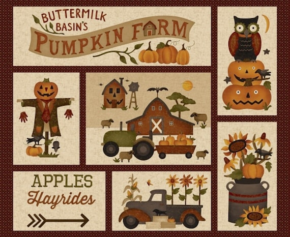 Panel of Patchwork Pumpkins, Old Watering Can, Old Truck Tractor, Barn, Pumpkin Farm Stacy West Buttermilk Basin Fabric by the Yard 2050P 44