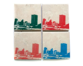 Toledo Skyline Coaster Set (4 Stone Coasters, Orange, Green, Blue, & Red) City Skyline Home Decor, Toledo Ohio Gift