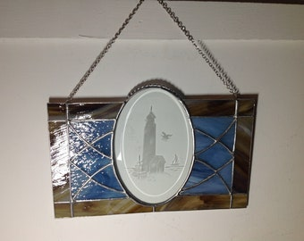 Handcrafted stained glass etched bevel lighthouse panel