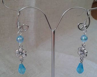 flower and blue pearl earrings
