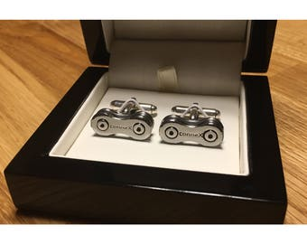 Connex Silver Modern Sterling Silver Cycle Chain Cufflinks