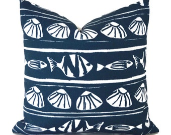 Indoor Outdoor Pillow Covers ANY SIZE Decorative Pillow Navy Blue and White Pillow Navy Pillow Premier Prints Outdoor Caicos Oxford