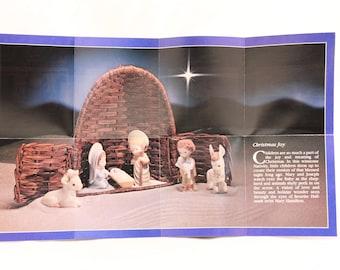 New In Box. Hallmark 1981 Mary Hamilton Nativity Wicker Stable, Rattan Creche