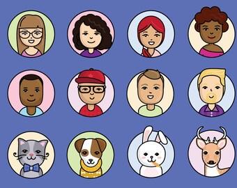 People and Animal avatars vector illustrations
