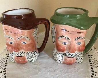 Vintage Pair Figural Old Men Toby Mugs  - Coffee Mugs Hand Painted