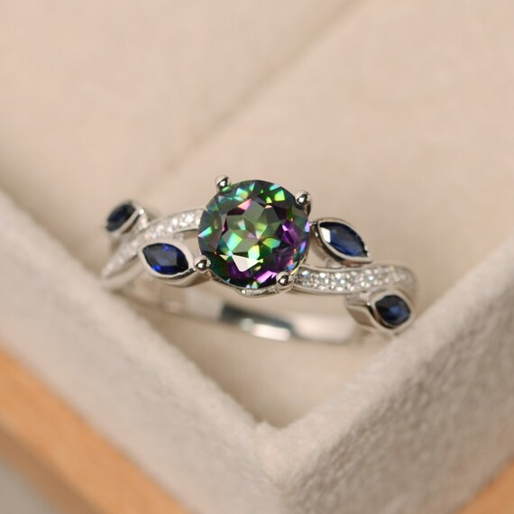 Mystic Topaz Ring Rainbow Topaz Sterling Silver Engagement