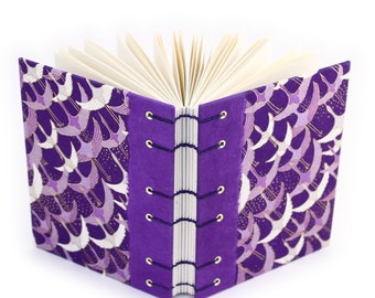 Purple Crane Journal with Japanese Yuzen Paper - handmade by Ruth Bleakley