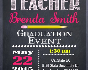 Teacher Education Degree Graduation Invitation Personalized