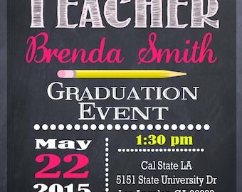 Teacher education degree graduation invitation personalized teacher education degree graduation invitation personalized graduation invitation diy printable chalkboard filmwisefo