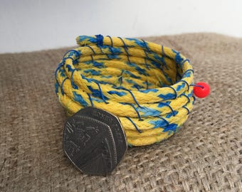Rope basket. Woven basket. Beach plastic bowl. Trinket bowl. Handwoven bowl. Fishing line bowl. Yellow and blue bowl. Small basket.