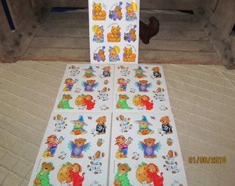 5 Vintage Sheets Hallmark Sticker Sheets-Teddy Bears Halloween Trick or Treat Costumes Mummy Witch Skeleton Beggar's Night