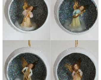 Vintage Angel Diorama Christmas Tree Ornament