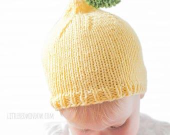 Lemon Baby Hat KNITTING PATTERN / Knit Lemon Hat / Summer Knit Hat / Neutral Baby Nursery / Fruit Hats/Summer Hat for Baby/Lemon Hat Pattern