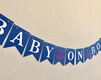 Baby On Board Banner/ Nautical Banner/ Baby Shower Banner