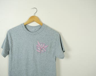 SALE Hand Embroidered Gray Leaf Tshirt // Size Small