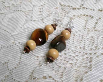 Handmade earrings made with Tigers eye and wood.