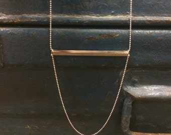 Silver plated tube necklace