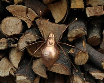 Spider insect animal mascot handmade copper wall