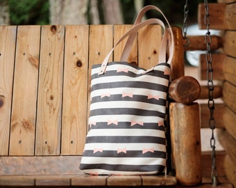 Stripe & bow tie Tote Bag / handbag