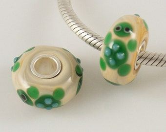 1 Bead - Turtle Animal Sterling Silver Core .925 Lampwork Glass European Bead Charm GJ2263 LC0066