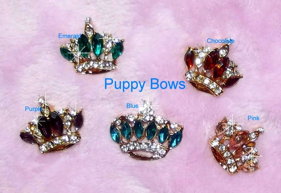 "Puppy Bows ~ CLEARANCE SALE  TINY 1"" rhinestone crystal crown dog bow  pet hair clip topknot barrette 8 colors!!"