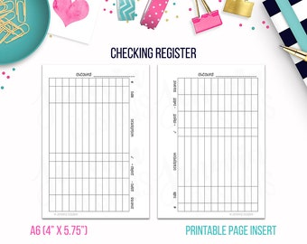 A6: Checking Register • Budget Binder Printable Page Insert for A6 sized Discbound or Ringbound Agendas, Notebooks, Organizers or Planners
