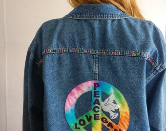 Oversize Denim Shirt with rainbow tie dye Peace, Love, Vegan Design.