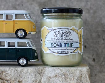 Natural Beeswax Candle // Road Trip, hippie candle, patchouli, sandalwood, essential oils, artisan candle