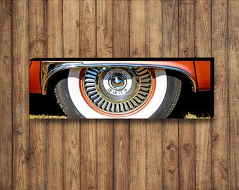 Color photo of a 1957 Ford Thunderbird wheel arch on canvas 12x36