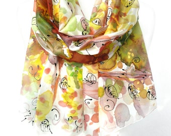 Hand Paint Silk Shawl. Echarpe Foulard Soie Yellow Scarf Floral Gift for Her Silk Art Scarf. Woman Scarf. 18x71 in. (45x180 cm). MADEtoORDER