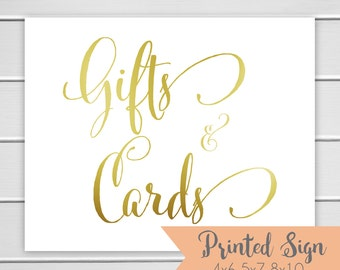 Gifts & Cards Sign, Gold Foiled Wedding Sign, Wedding Card Table Sign 4x6 5x7 or 8x10 (S004-CN-F)