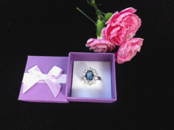 Blue and white crystal cluster dress ring, large size S