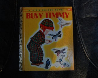 SALE Busy Timmy A Little Golden Book G Edition #452 1948 Pictures by Eloise Wilkin - 1940s Little Golden Book - Vintage Little Golden Book