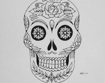 Dia de los Muertos skull - ink on Bristol paper, made to order
